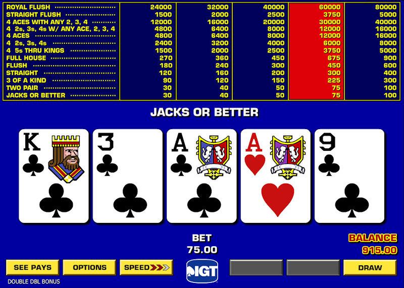 Double Double Bonus Poker Video Poker