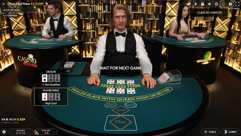 Evolution Live 3 Card Poker