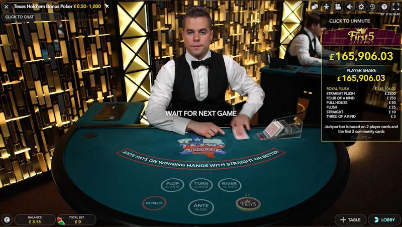 Evolution Live Texas Holdem Bonus Poker